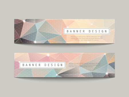 charming geometric poly style banners set isolated on grey Illustration