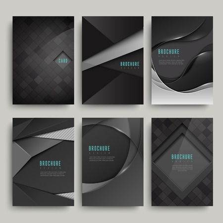 modern black brochure set isolated on grey
