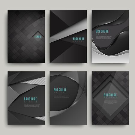 Moderne zwarte brochure set geïsoleerd op grijs Stockfoto - 41859803