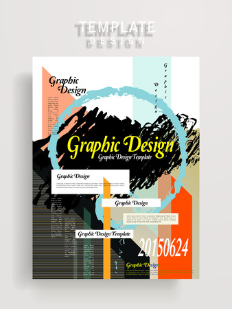 modern poster template design with colorful geometric and brush strokes elements