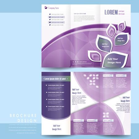 elegant tri-fold template design with purple geometric elements