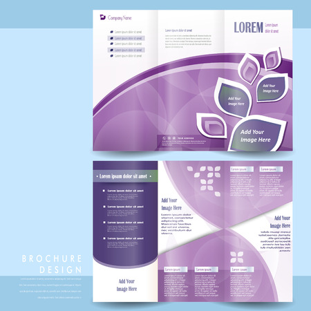 elegant tri-fold template design with purple geometric elements