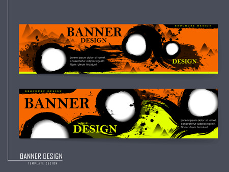 creative banner template design with Chinese calligraphy strokes elements