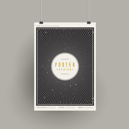 poster design: trendy geometric element poster design hanging over grey wall