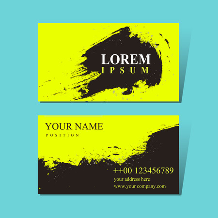 poetic: attractive business card design template with Chinese calligraphy brush strokes elements Illustration