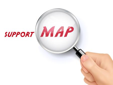 lupa: mapa de palabras de apoyo que muestra a través de la lupa en poder de la mano