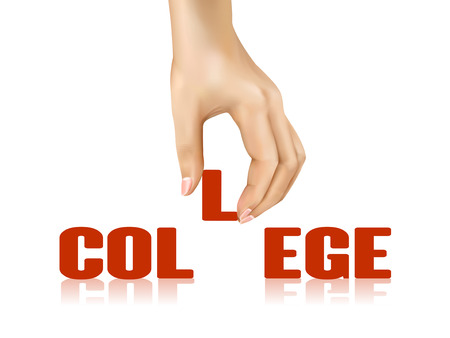 taken: college word taken away by hand over white background