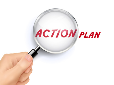 take action: action plan word showing through magnifying glass held by hand