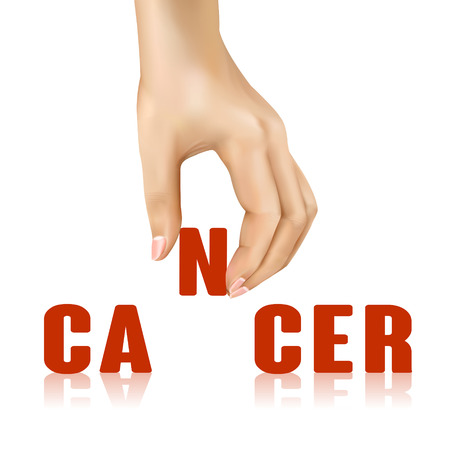 cause: cancer word taken away by hand over white background