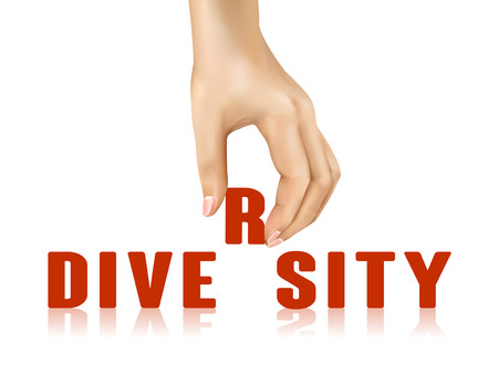 taken: diversity word taken away by hand over white background
