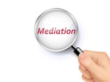 mediation: mediation word showing through magnifying glass held by hand