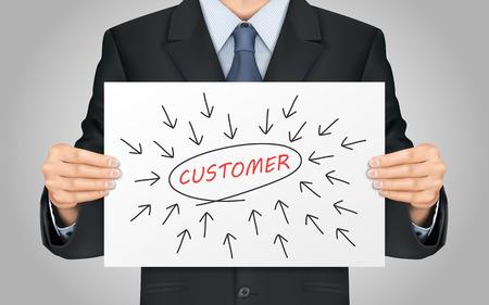 close-up kijken naar zakenman die klant woord poster Vector Illustratie