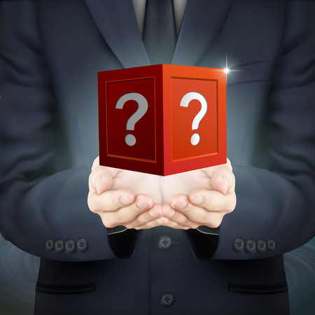 mysterious: close-up look at businessman holding mysterious box