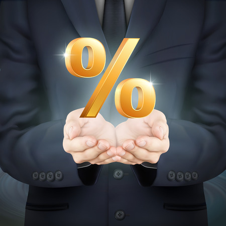 percent sign: close-up look at businessman holding percent sign Illustration