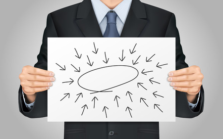 centralize: close-up look at businessman holding empty diagram poster Illustration