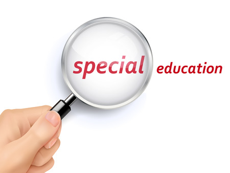 special education word showing through magnifying glass held by hand Illustration
