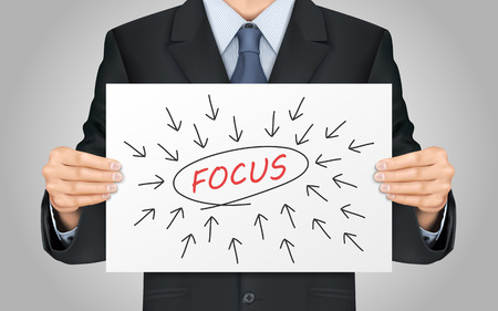 considering: close-up look at businessman holding focus word poster