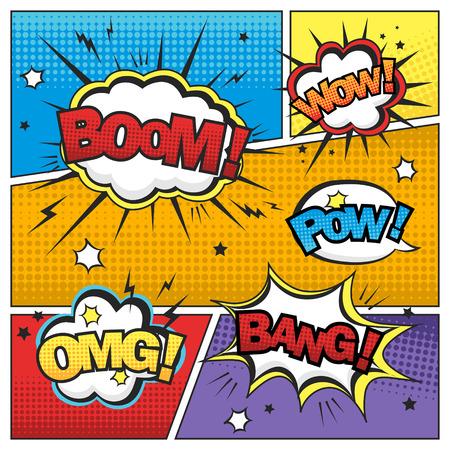 aantrekkelijke komisch geluidseffect set geïsoleerd op kleurrijke stripverhaal template Stock Illustratie