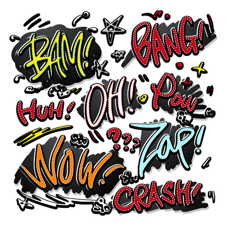 lovely doodle style comic sound effects set over white background