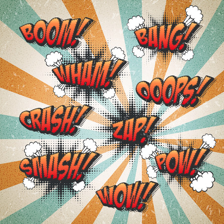 retro comic sound effects set over attractive striped background