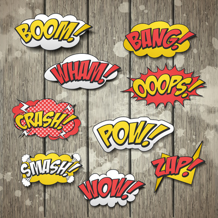 vivid colorful comic sound effects set over wooden background