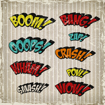 zap: retro colorful comic sound effects set over grunge background