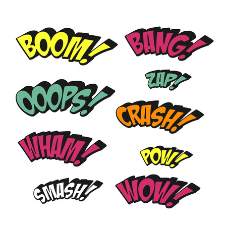 bubble background: simplicity colorful comic sound effects set over white background