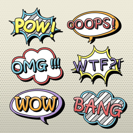 oops: lovely comic sound effect set isolated on beige background