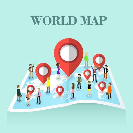 vlakke 3d isometrische ontwerp van de kaart van de wereld begrip
