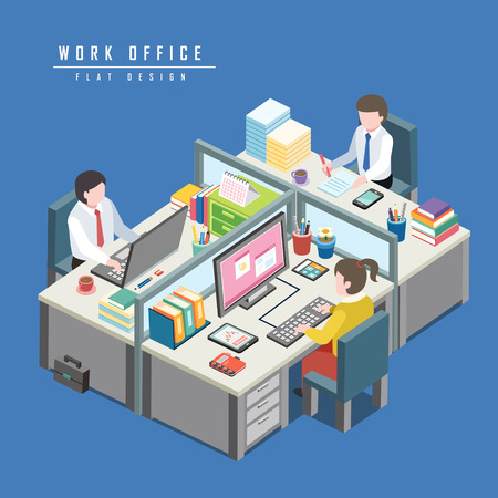 flat 3d isometric design of work office concept