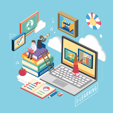 교육: e- 학습 개념의 평면 3D 아이소 메트릭 디자인 일러스트