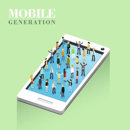 generation: flat 3d isometric design of mobile generation concept