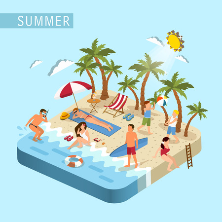 girls in bikini: flat 3d isometric design of summer beach scene concept