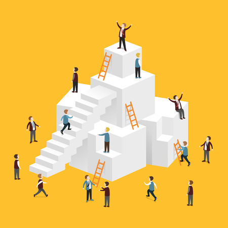 successful businessman: flat 3d isometric design of heading for success concept
