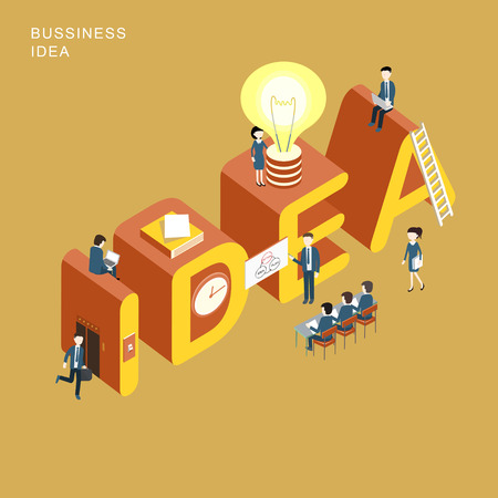 flat 3d isometric design of business idea concept