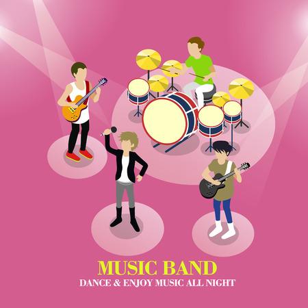 diseño 3D isométrica plano del concepto de grupo de música