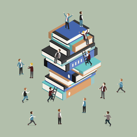 flat 3d isometric design of knowledge is power concept
