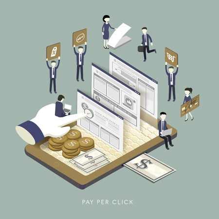 mobile marketing: flat 3d isometric design of pay per click concept