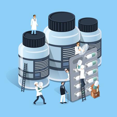 Flach isometrische 3D-Design der Medizin-Management-Konzept