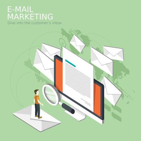 이메일 마케팅 개념의 평면 3D 아이소 메트릭 디자인