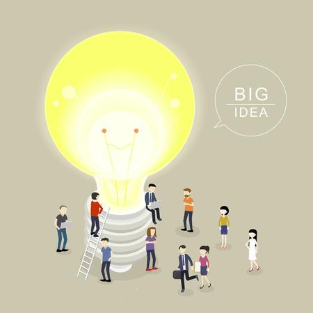 flat 3d isometric design of big idea concept