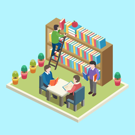 flat 3d isometric design of study in the library concept