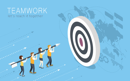 flat 3d isometric design of teamwork concept