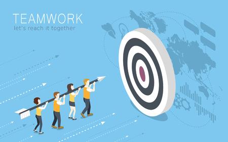 trabajo en equipo: diseño 3D isométrica plana del concepto de trabajo en equipo