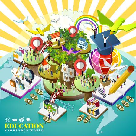세계 개념을 통해 교육의 평면 3D 아이소 메트릭 디자인
