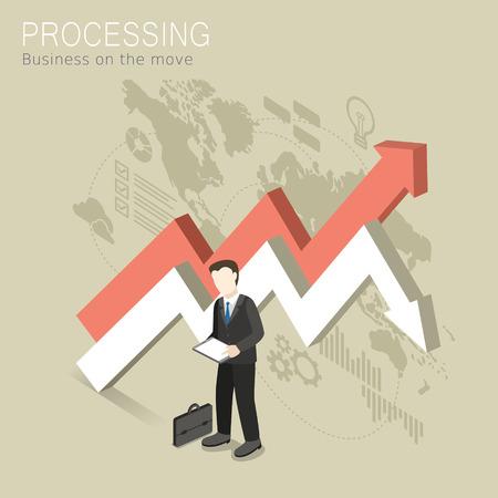 unrecognizable: flat 3d isometric design of processing concept