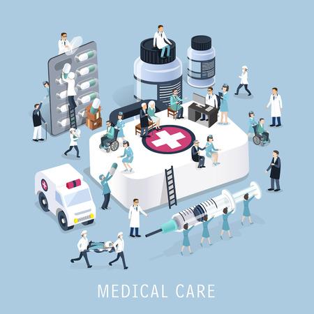 equipos medicos: dise�o 3D isom�trica plano del concepto de atenci�n m�dica Vectores