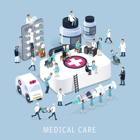 doctores: dise�o 3D isom�trica plano del concepto de atenci�n m�dica Vectores