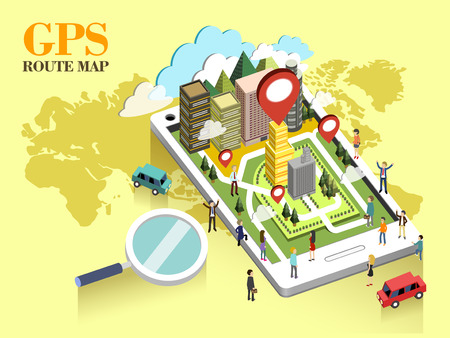 mobile application: flat 3d isometric design of GPS route map concept