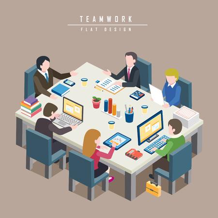 sala de reuniones: dise�o 3D isom�trica plana del concepto de trabajo en equipo